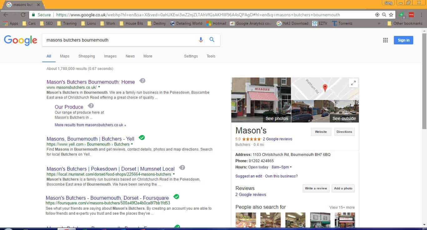 Masons butchers bournemouth google search listing - invest in your website series
